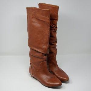 Gianni Bini Tan Leather Tall Slouchy Boots